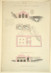 Plan and sections of magazine on the upper fort